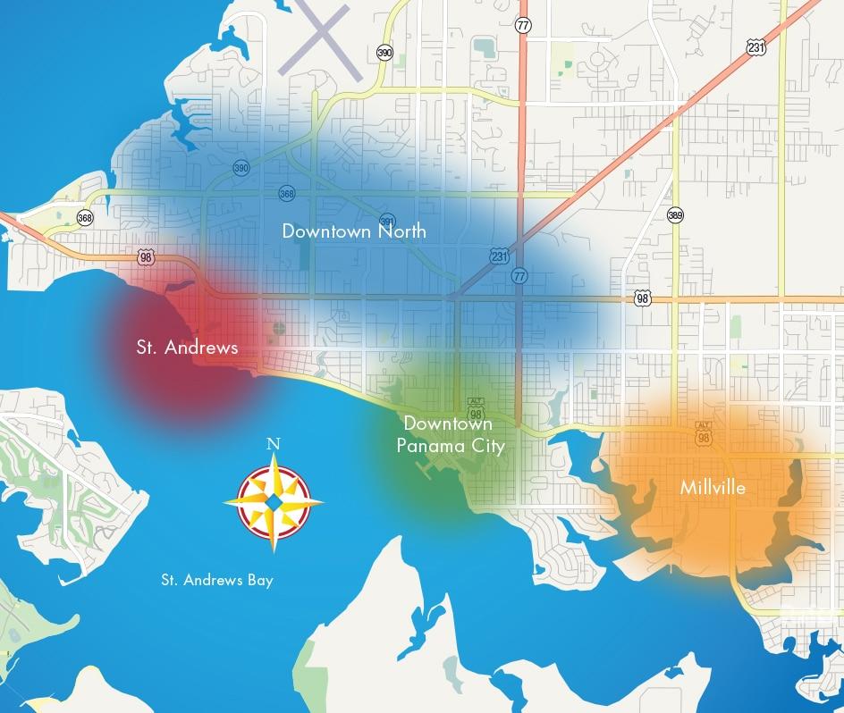 Panama City Map Of Florida.Panama City Neighborhood Map Destination Panama Citydestination